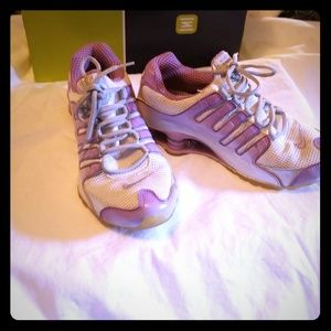 Nike shox size 8 womans purple and white